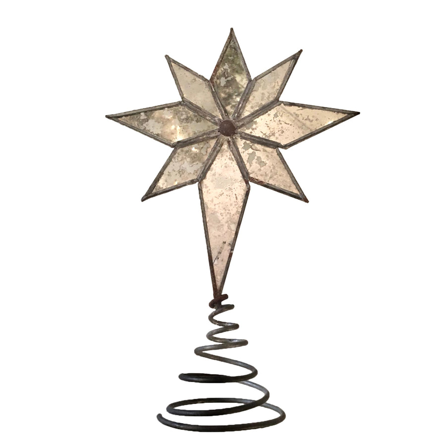Mirrored Mottled Glass North Star Tree Topper