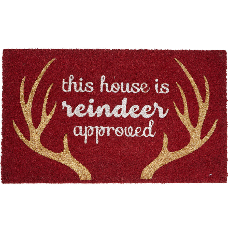 """This house is reindeer approved"" Red Printed Coir Doormat"