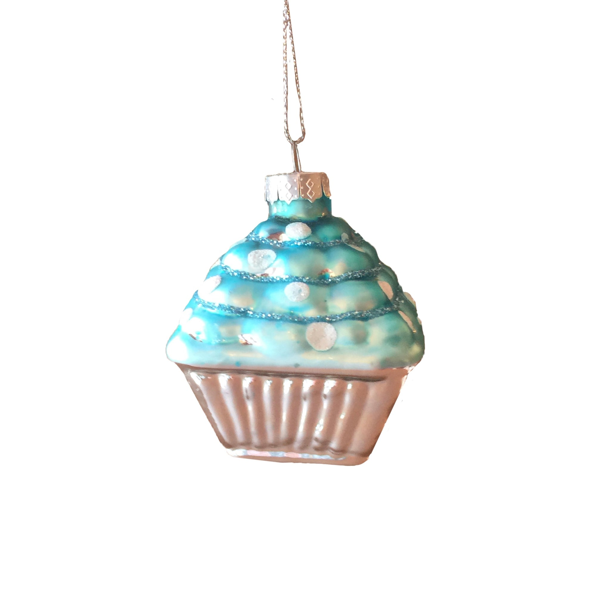 Blue Cupcake Glass Ornament Sweets and Cakes | Putti Christmas