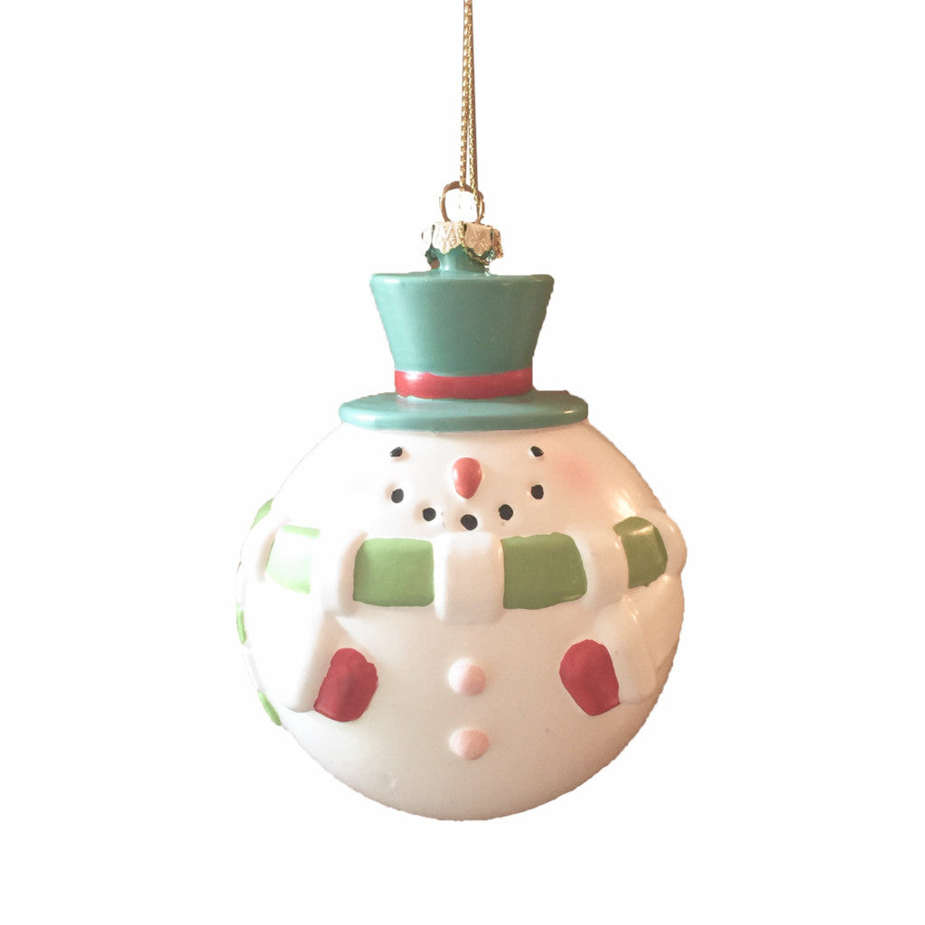 Pink and Aqua Snowman Ornament | Putti Christmas