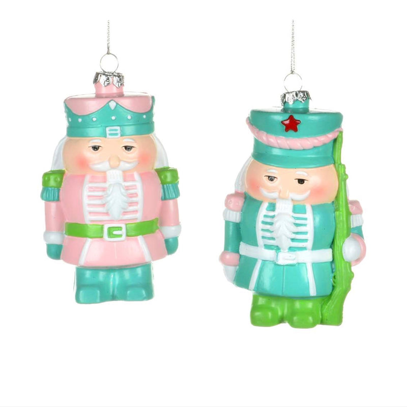 Pink and Aqua Nutcracker Ornament
