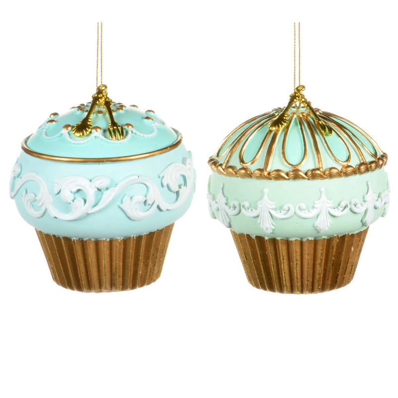 Aqua and Mint with Gold Cupcake Ornaments  | Putti Christmas