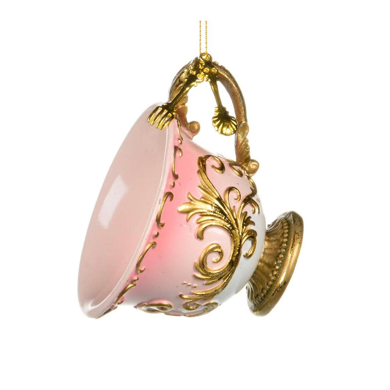 Pink and Gold Teacup Ornament | Putti Christmas