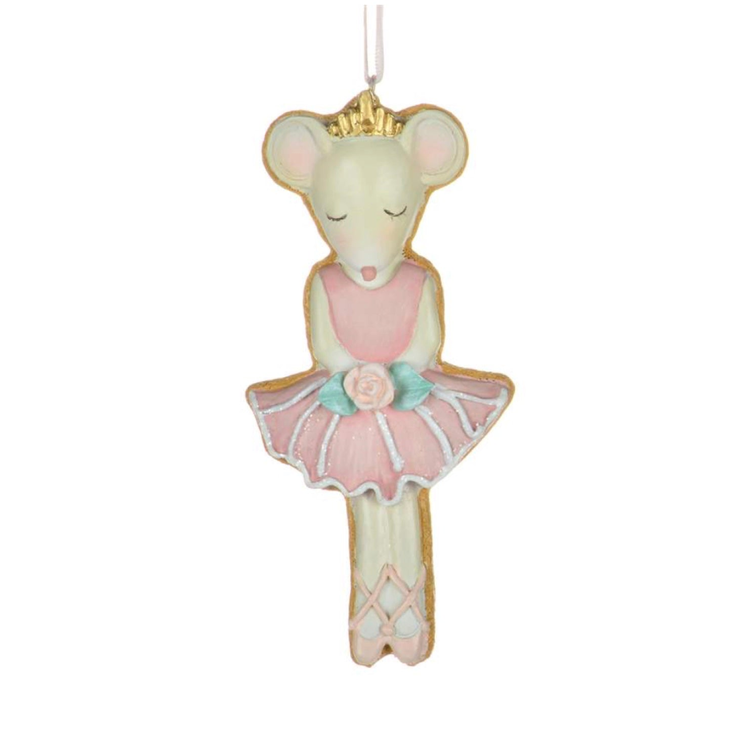 Pastel Ballerina Mouse Cookie Ornament  | Putti Christmas