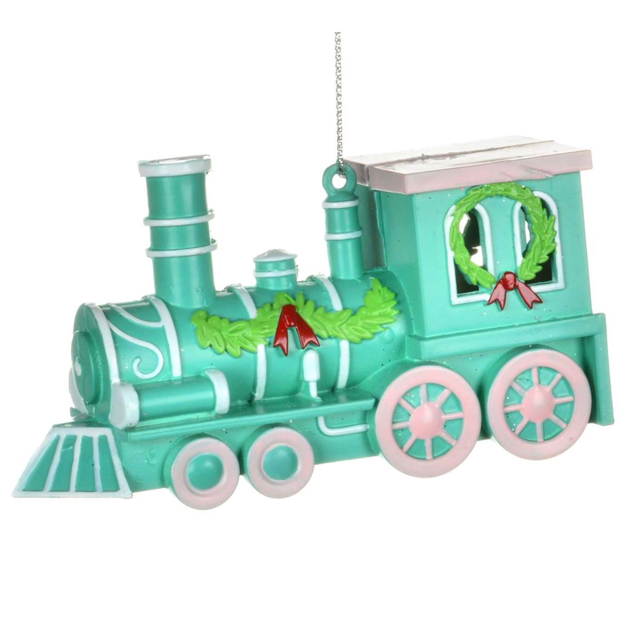 Pink and Aqua Train Ornament  | Putti Christmas