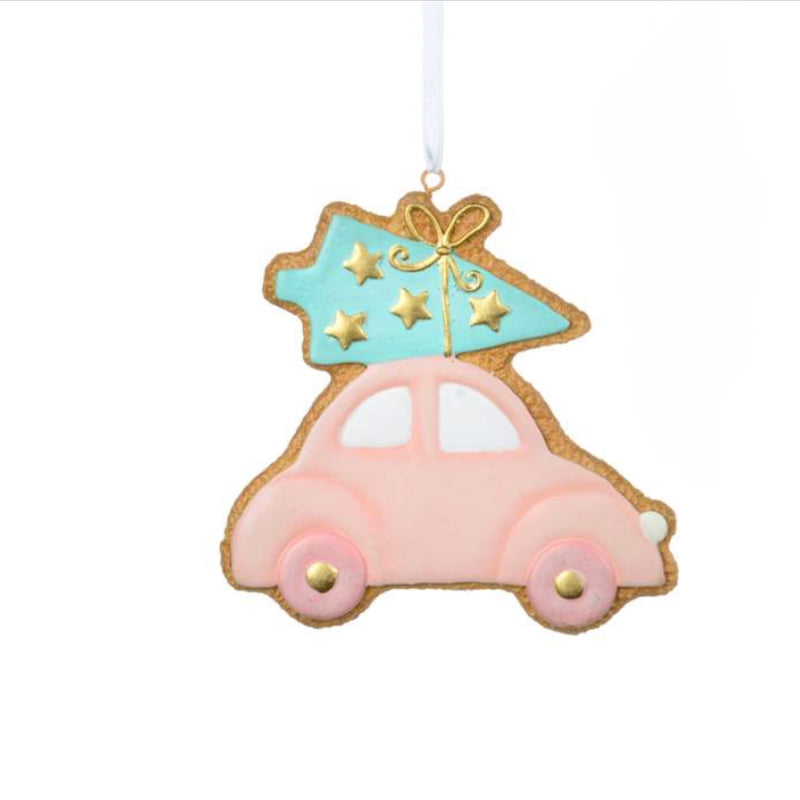Pastel Car with Tree Cookie Ornament | Putti Christmas