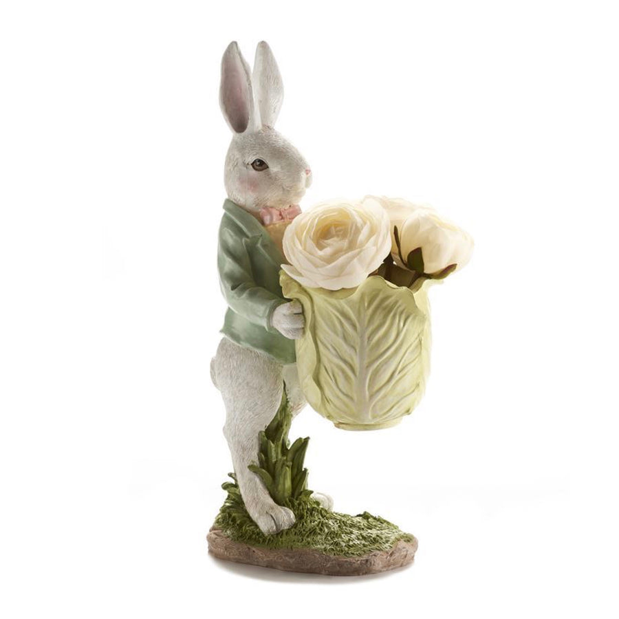 Rabbit with Cabbage Planter | Putti Fine Furnishings