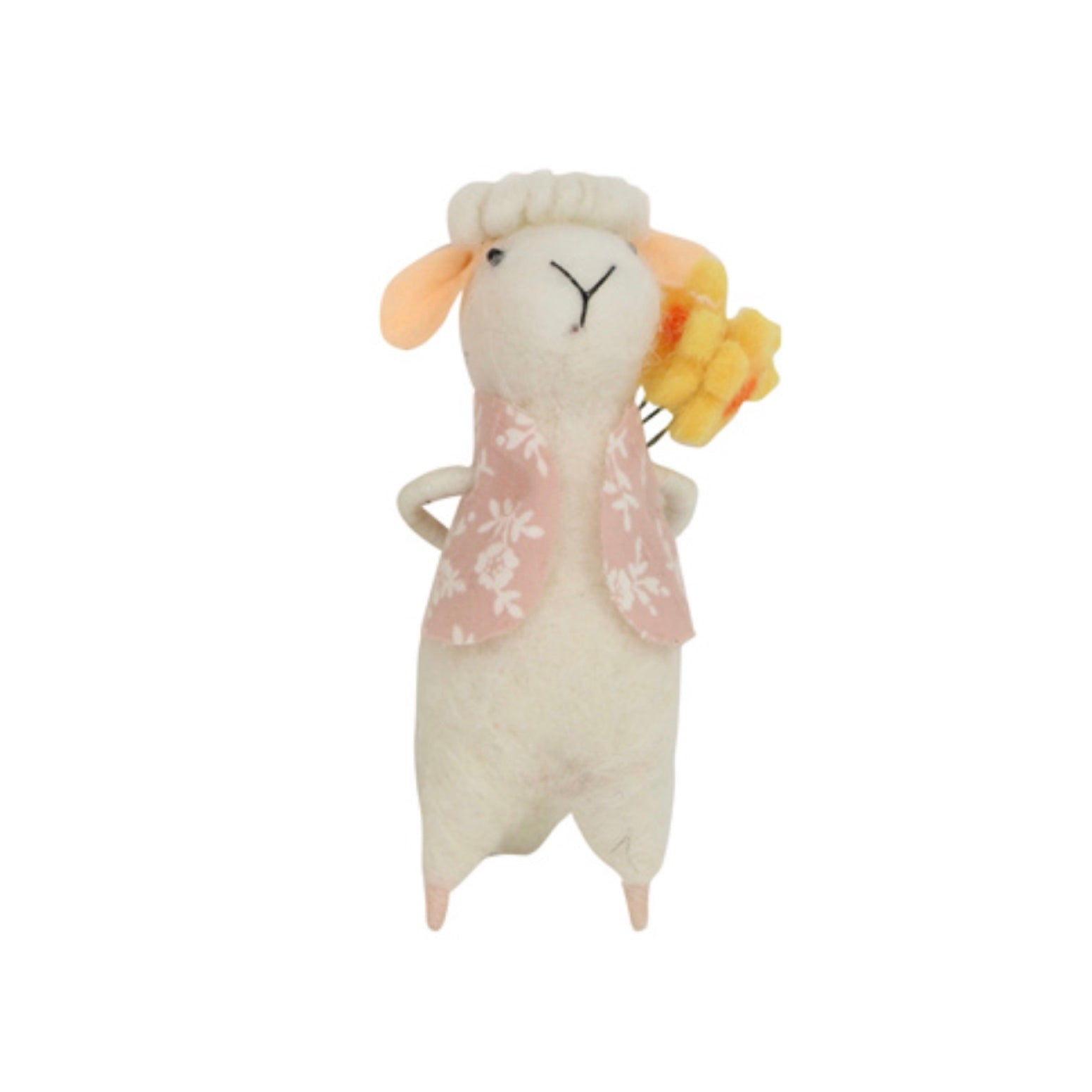 Gisella Graham Felt Lamb with pink Waistcoat and Flowers | Le Petite Putti