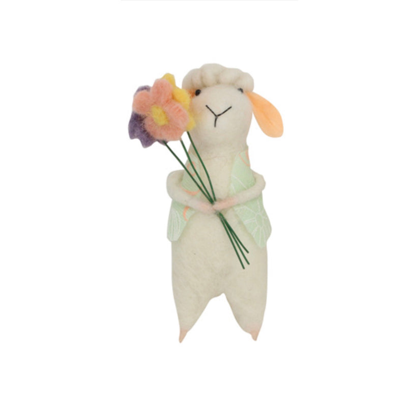 Gisella Graham Felt Lamb with Green Waistcoat and Flowers | Le Petite Putti
