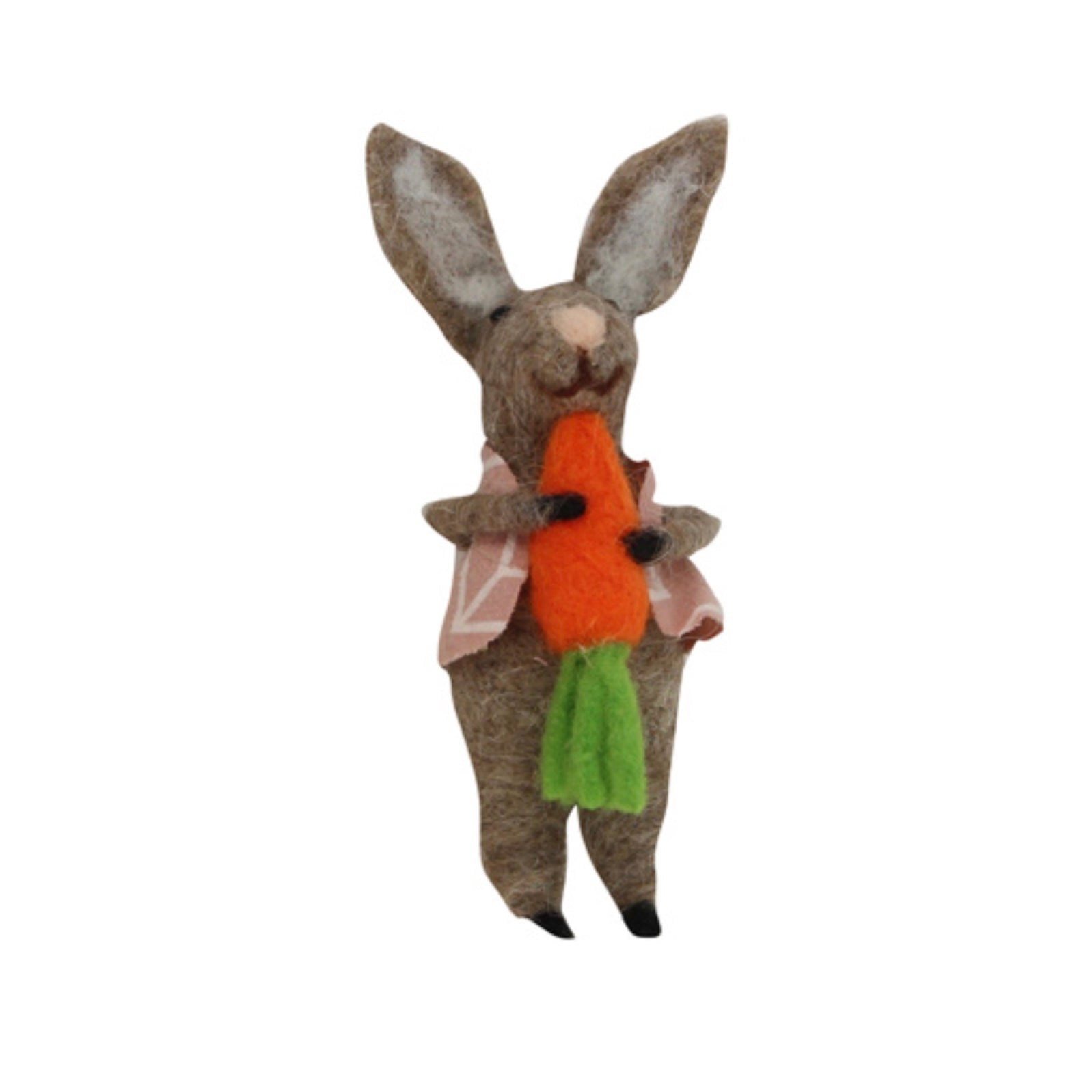 Gisella Graham Brown Felt Bunny with Carrot Ornament  | Le Petite Putti