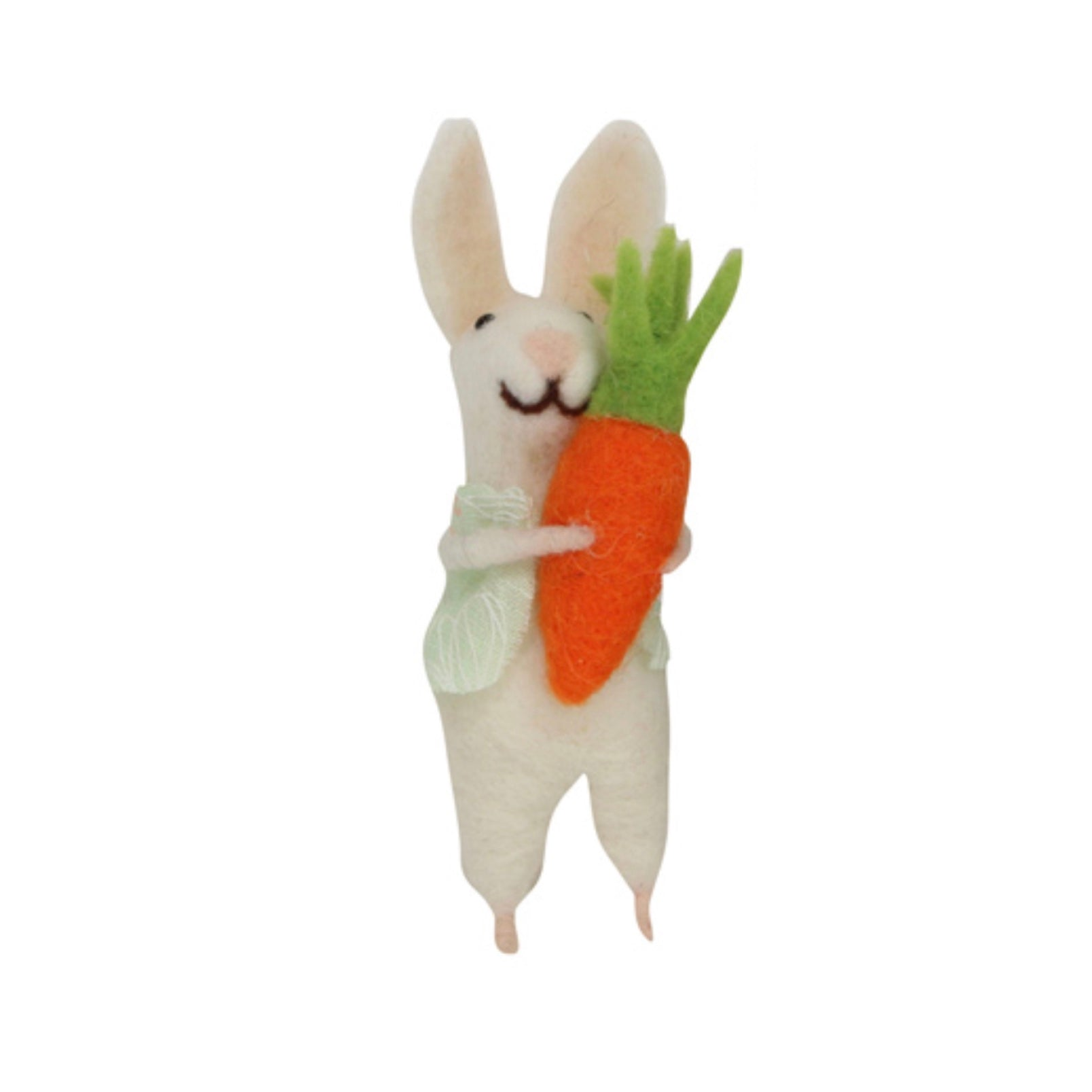 Gisella Graham White Felt Bunny with Carrot Ornament  | Le Petite Putti