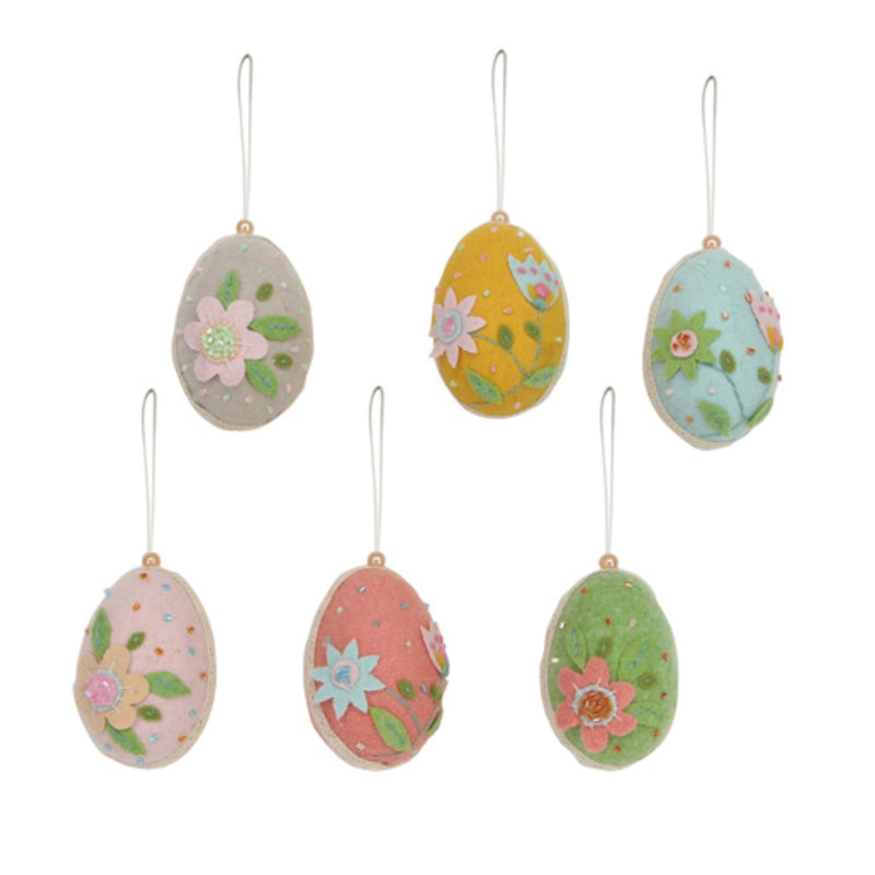 Gisella Graham Felt Eggs with Flowers  | Le Petite Putti