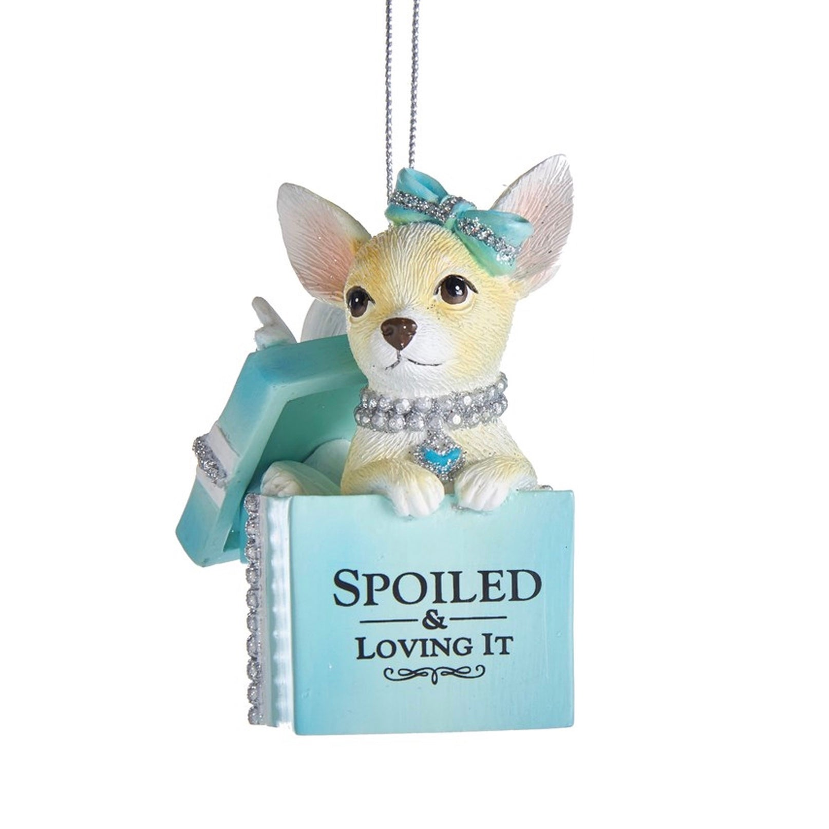 "Kurt Adler Tiffany Blue ""Spoiled & Loving it"" Chihuahua Dog Ornament 
