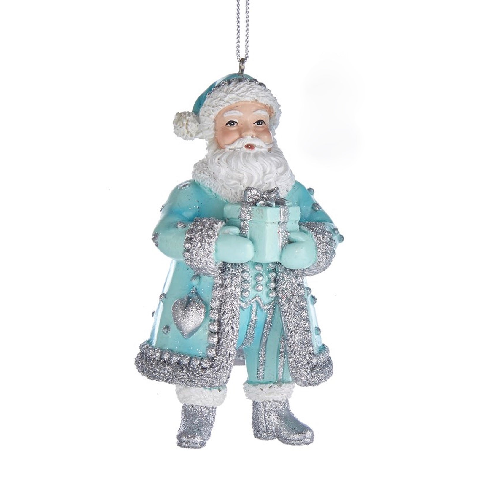 Kurt Adler Tiffany Blue and Silver Santa Ornament | Putti Christmas