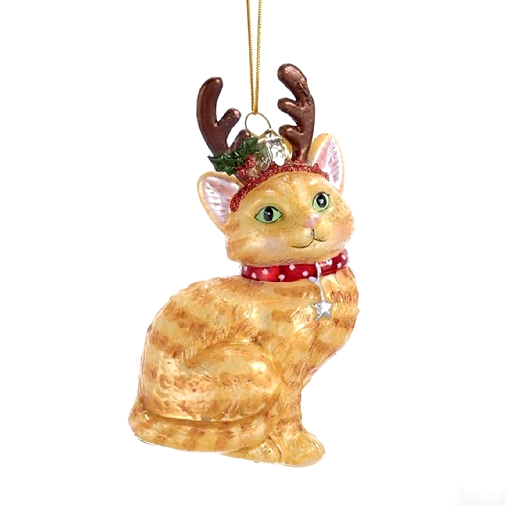 Kurt Adler Ginger Cat with Antlers Glass Ornament | Putti Christmas