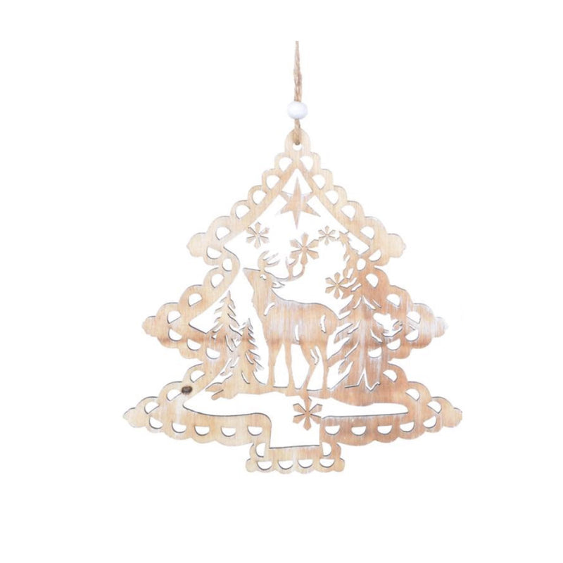 Lazer Cut Wood Deer in Tree Ornament