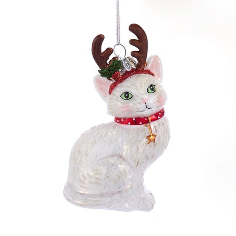 Kurt Adler White Cat with Antlers Glass Ornament | Putti Christmas Canada