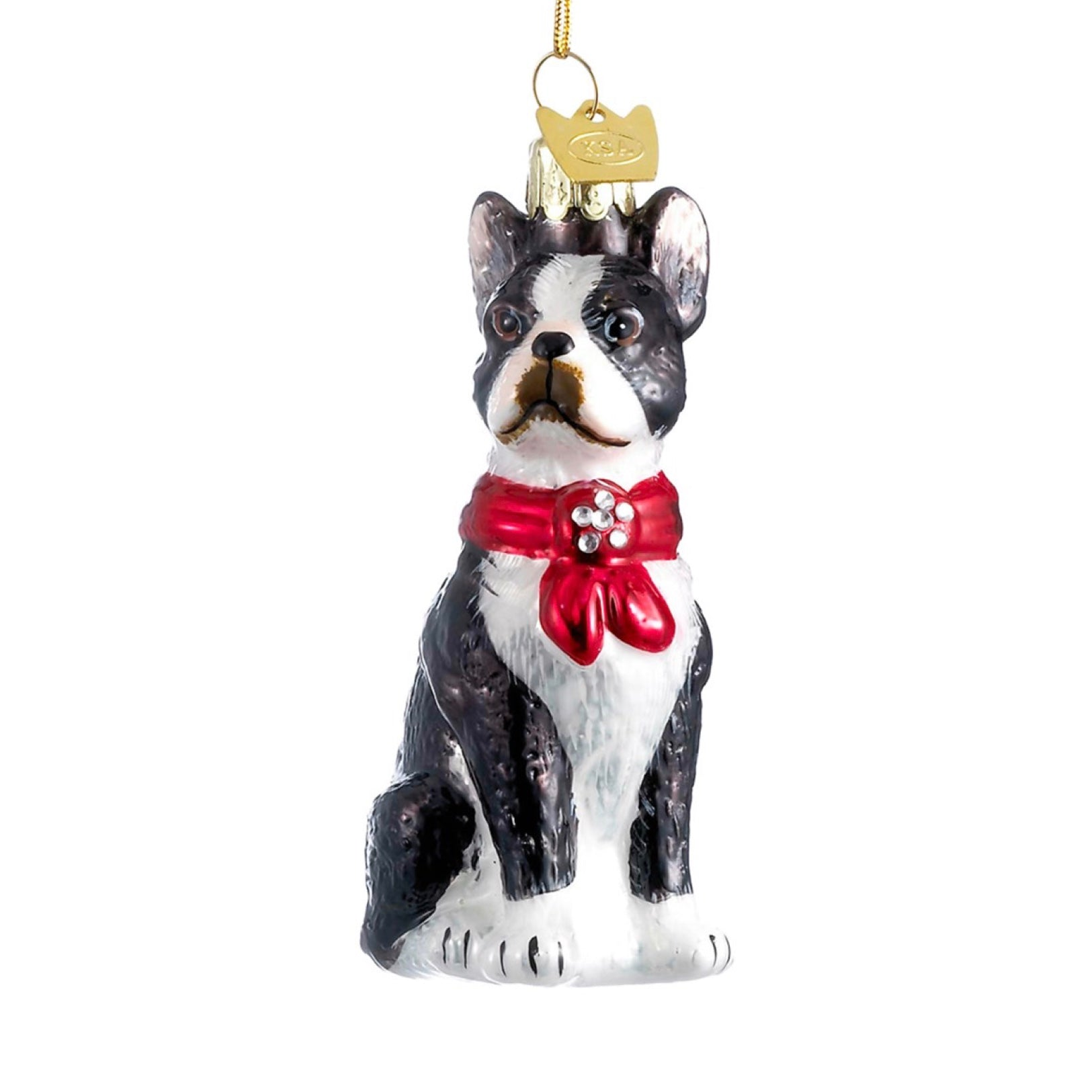 Kurt Adler Boston Terrier with Red Bow Glass Ornament