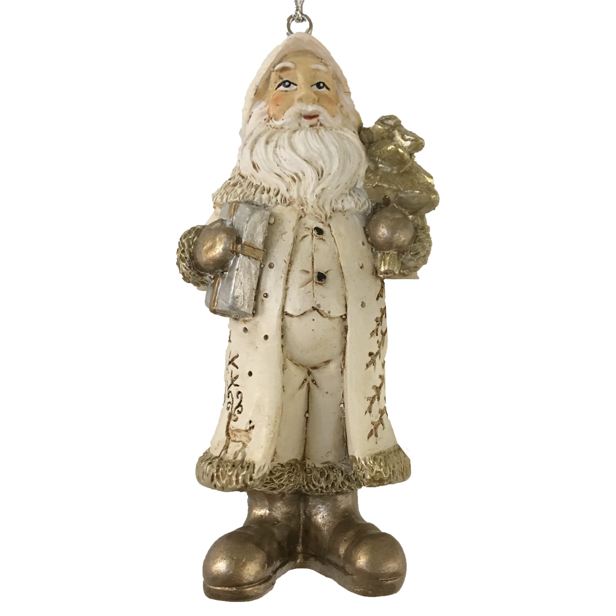 Ivory and Gold Victorian Santa, CT-Christmas Tradition, Putti Fine Furnishings