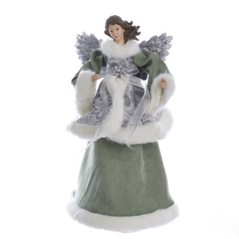 Kurt Adler Sage Green and Silver Angel Tree Topper | Putti Christmas