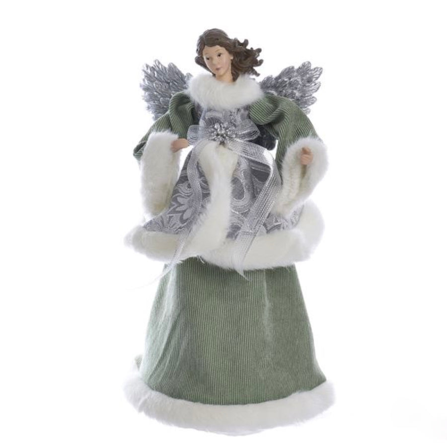 Kurt Adler Sage Green and Silver Angel Tree Topper