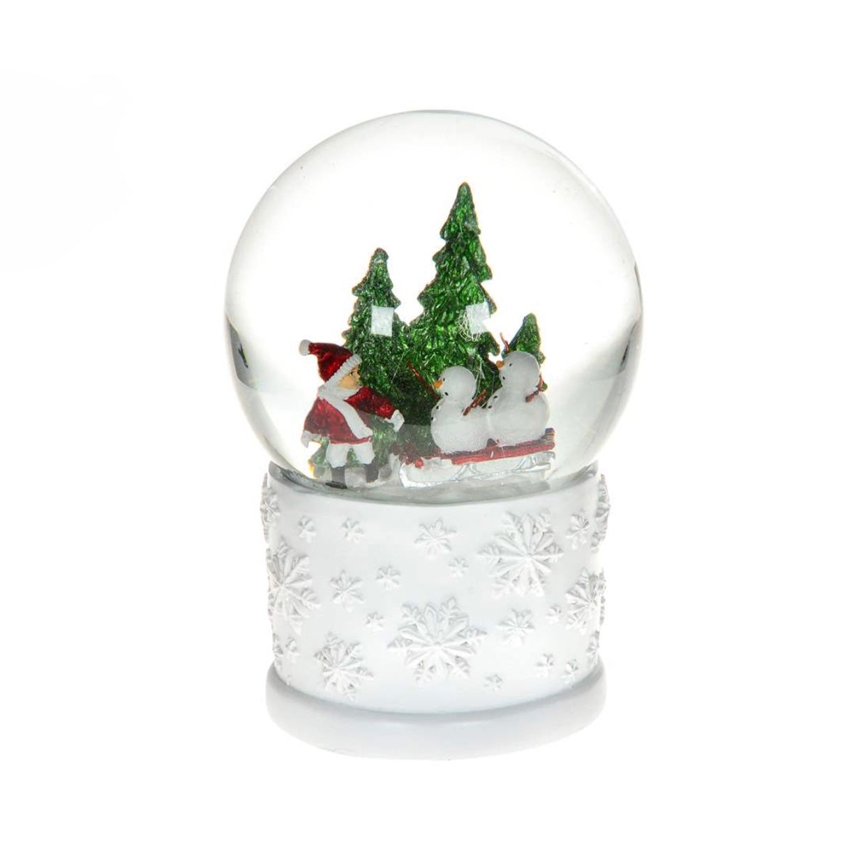 Christmas In Evergreen Snow Globe.Child With Snowmen On Sleigh Snow Globe With Music