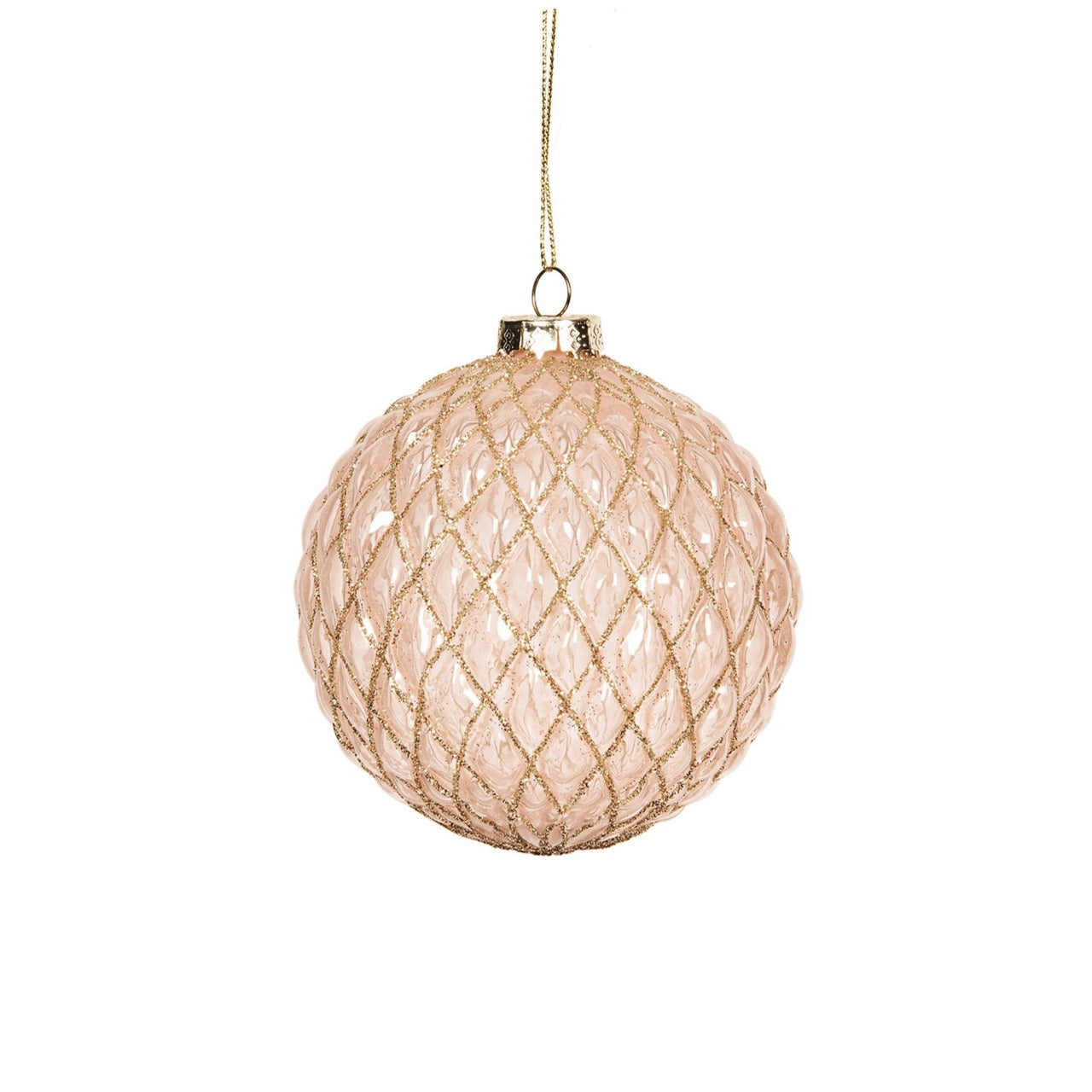 Blush Pink Quilted Ball Ornament | Putti Christmas