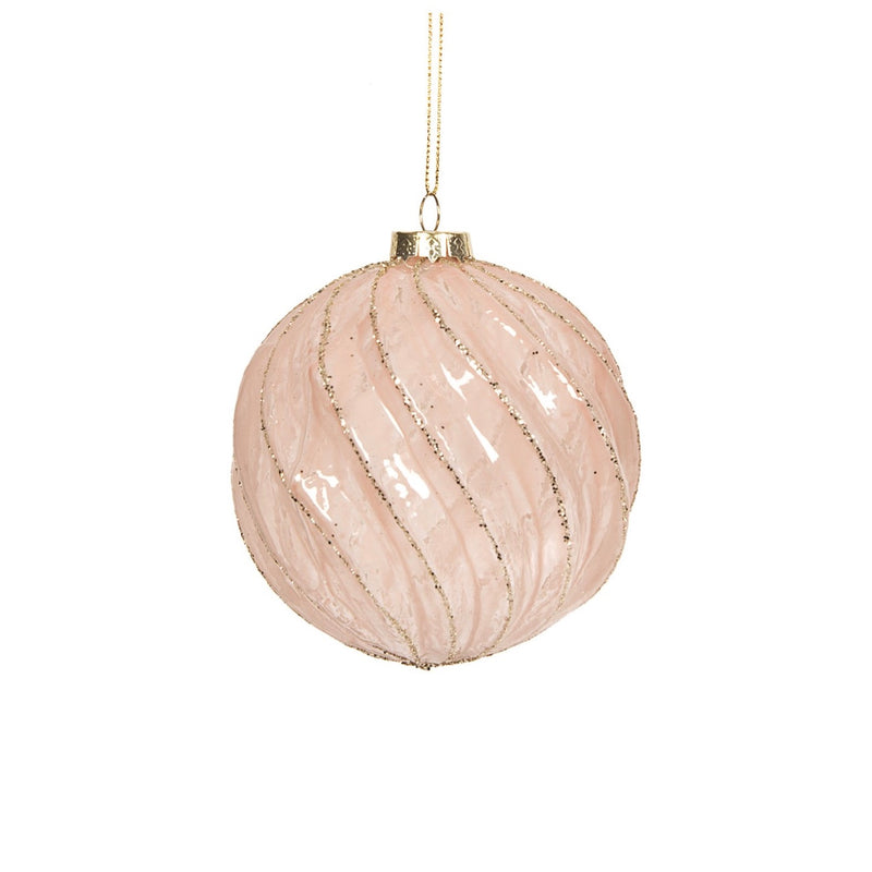 Blush Pink Swirl Ball Ornament | Putti Christmas