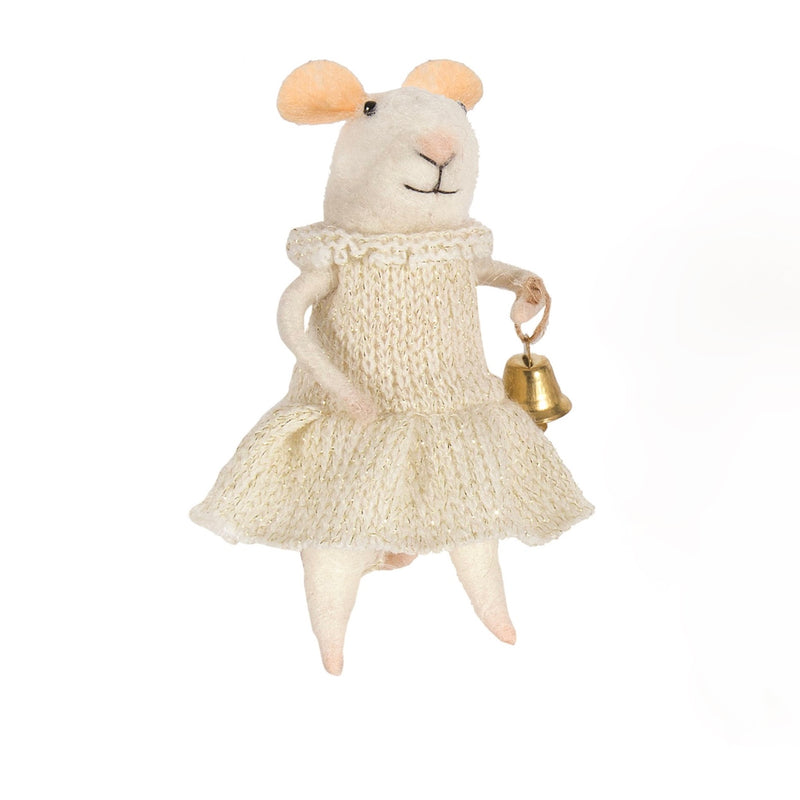 """Bell Ringing Bella"" Felted Mouse Ornament 