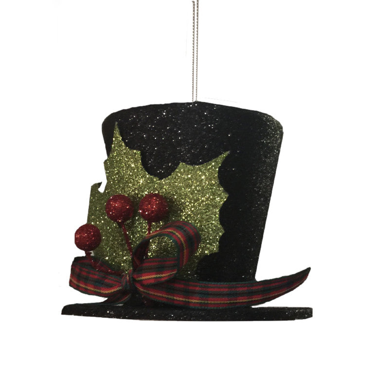 Black Glitter Top Hat Ornament with PlaidTrim