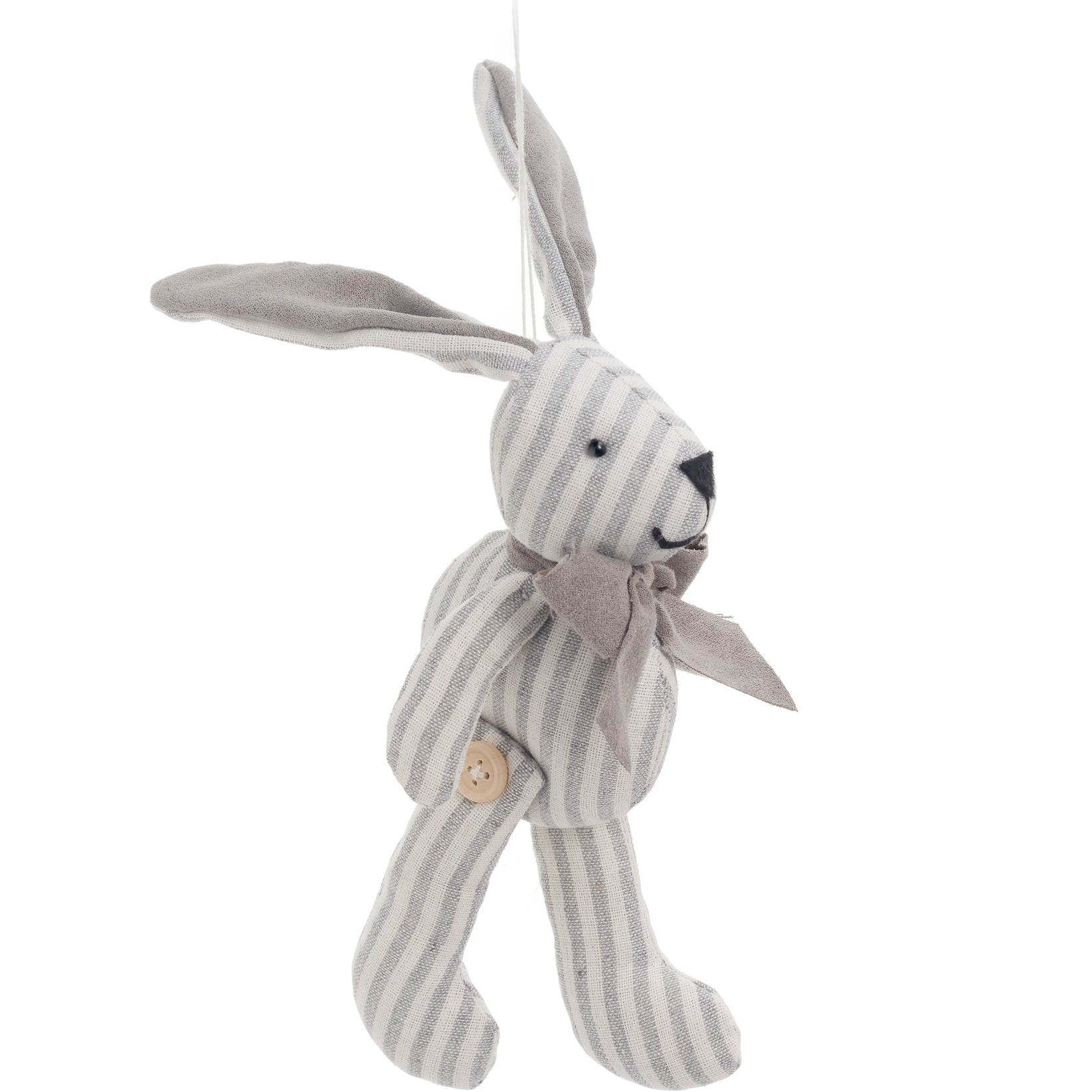 Grey Ticking Stripe Rabbit Ornament | Putti Fine Furnishings