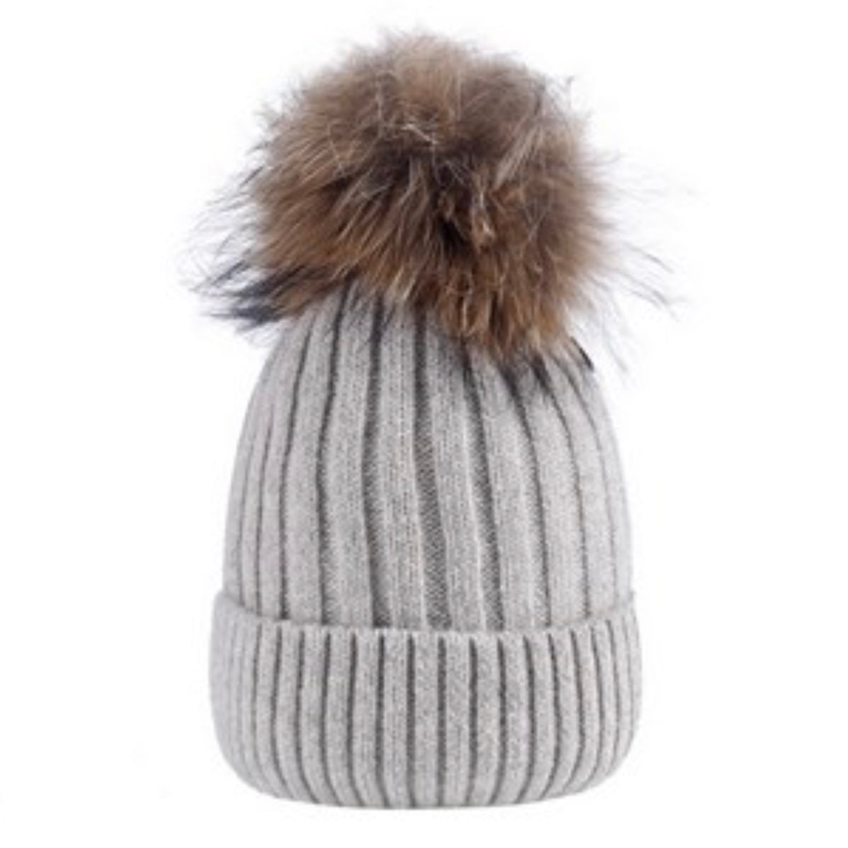 Grey Wool Hat with Racoon Fur Pom Pom | Putti Fine Fashions