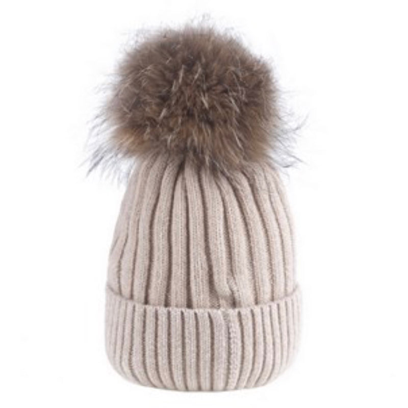 Beige Wool Hat with Racoon Fur Pom Pom | Putti Fie Fashions