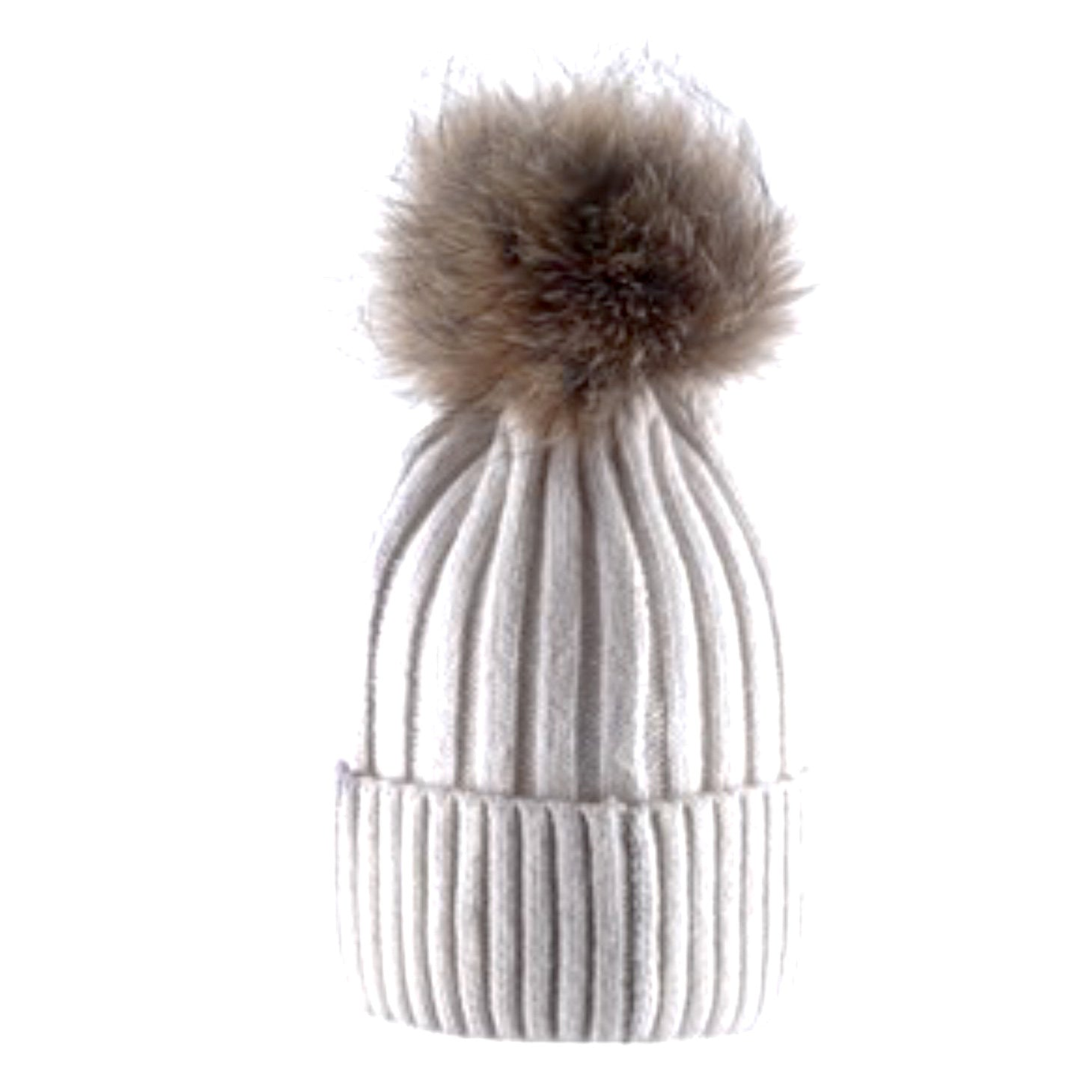 Ivory Wool Hat with Racoon Fur Pom Pom