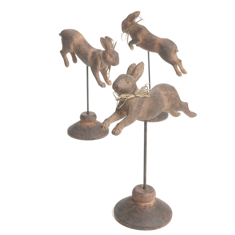 Leaping Rabbits on Stand - set of 3 | Putti Fine Furnishings Canada