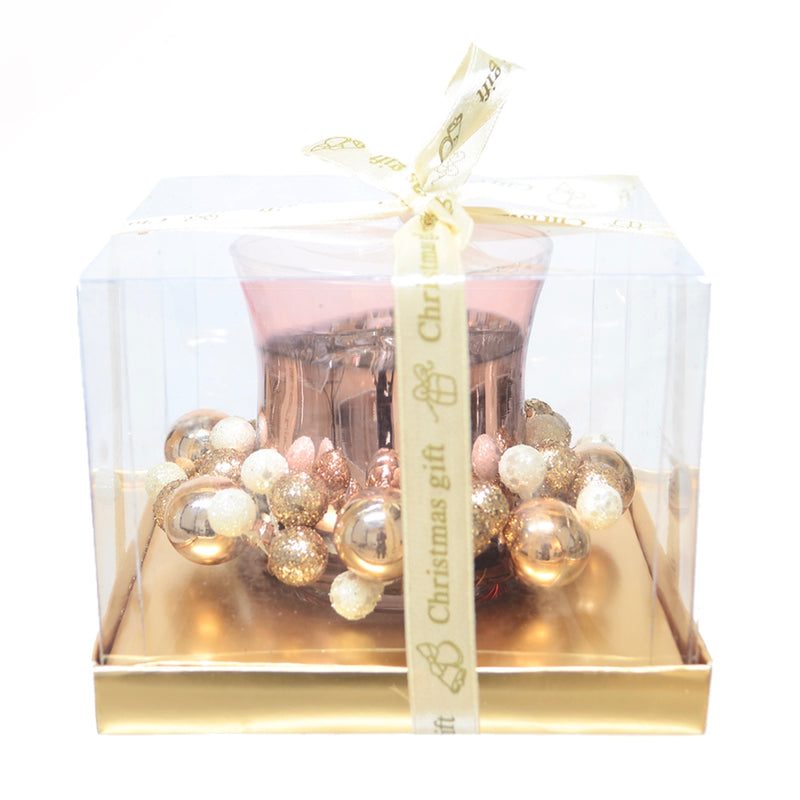Rose Gold Candle Holder with Baubles | Putti Christmas Celebrations
