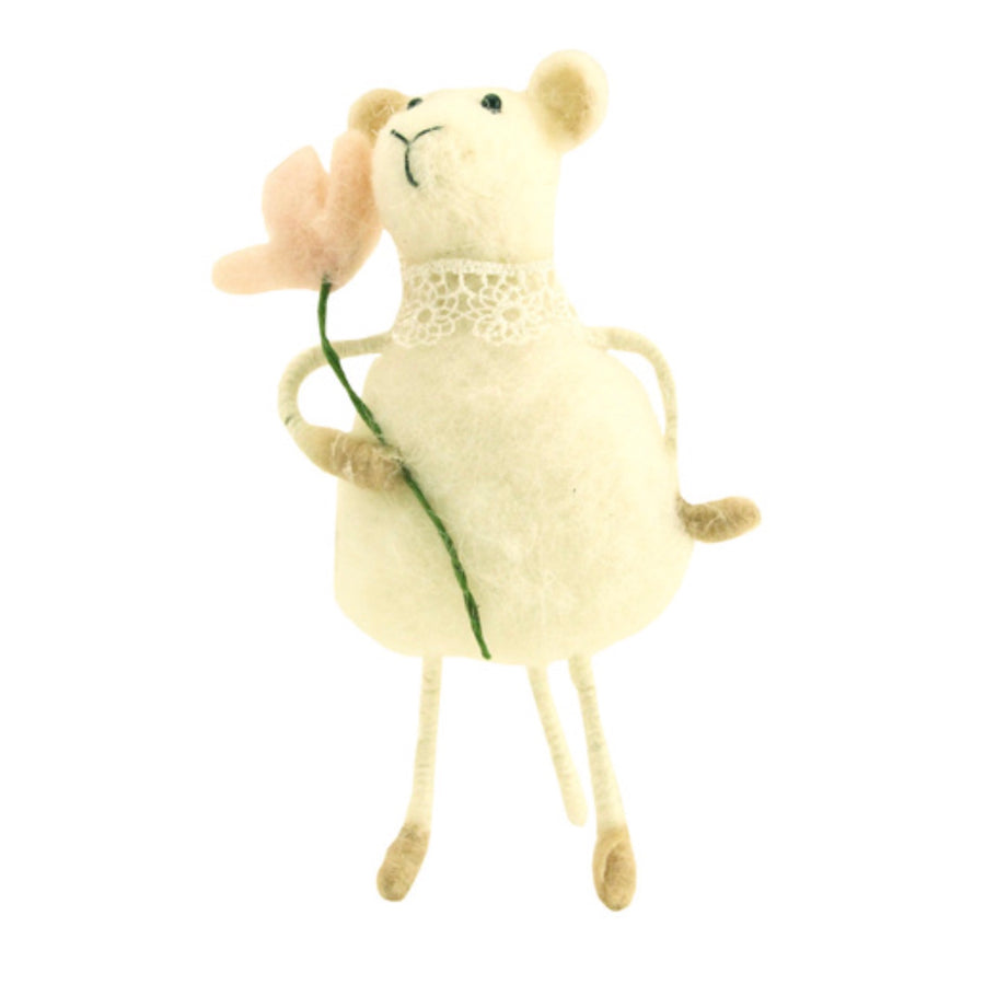 Gisella Graham Felt Mouse with Flower | Le Petite Putti