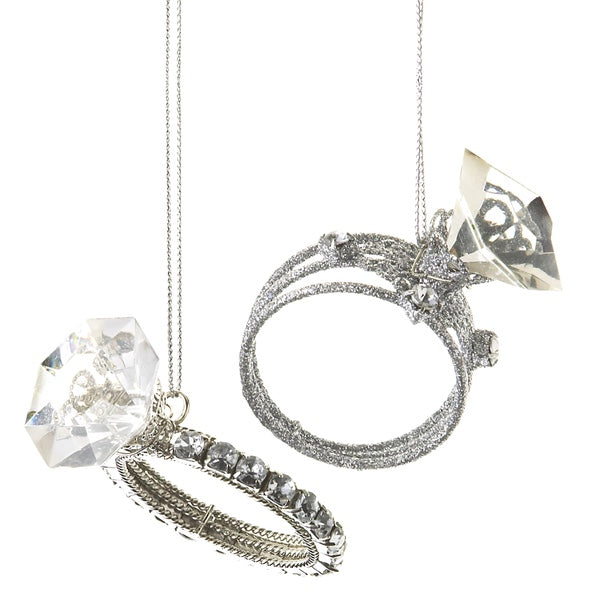 Silver Diamond Ring Ornament | Putti Christmas