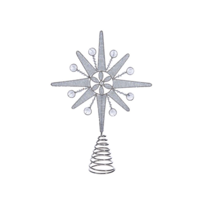 Silver Beaded North Star Christmas Tree Topper | Putti Christmas Celebrations