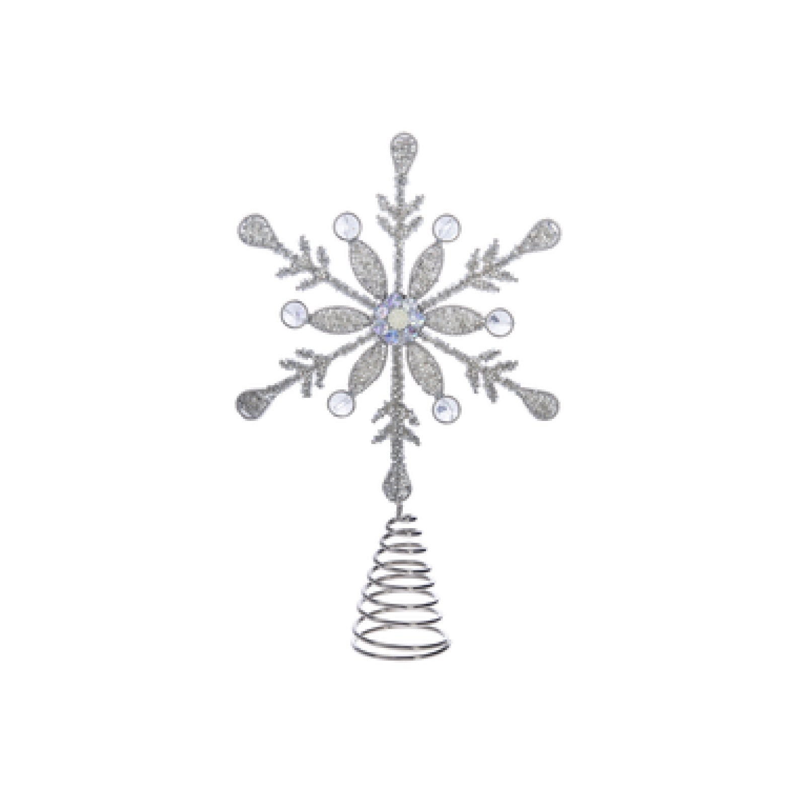Silver Beaded Snowflake Christmas Tree Topper | Putti Christmas Celebrations