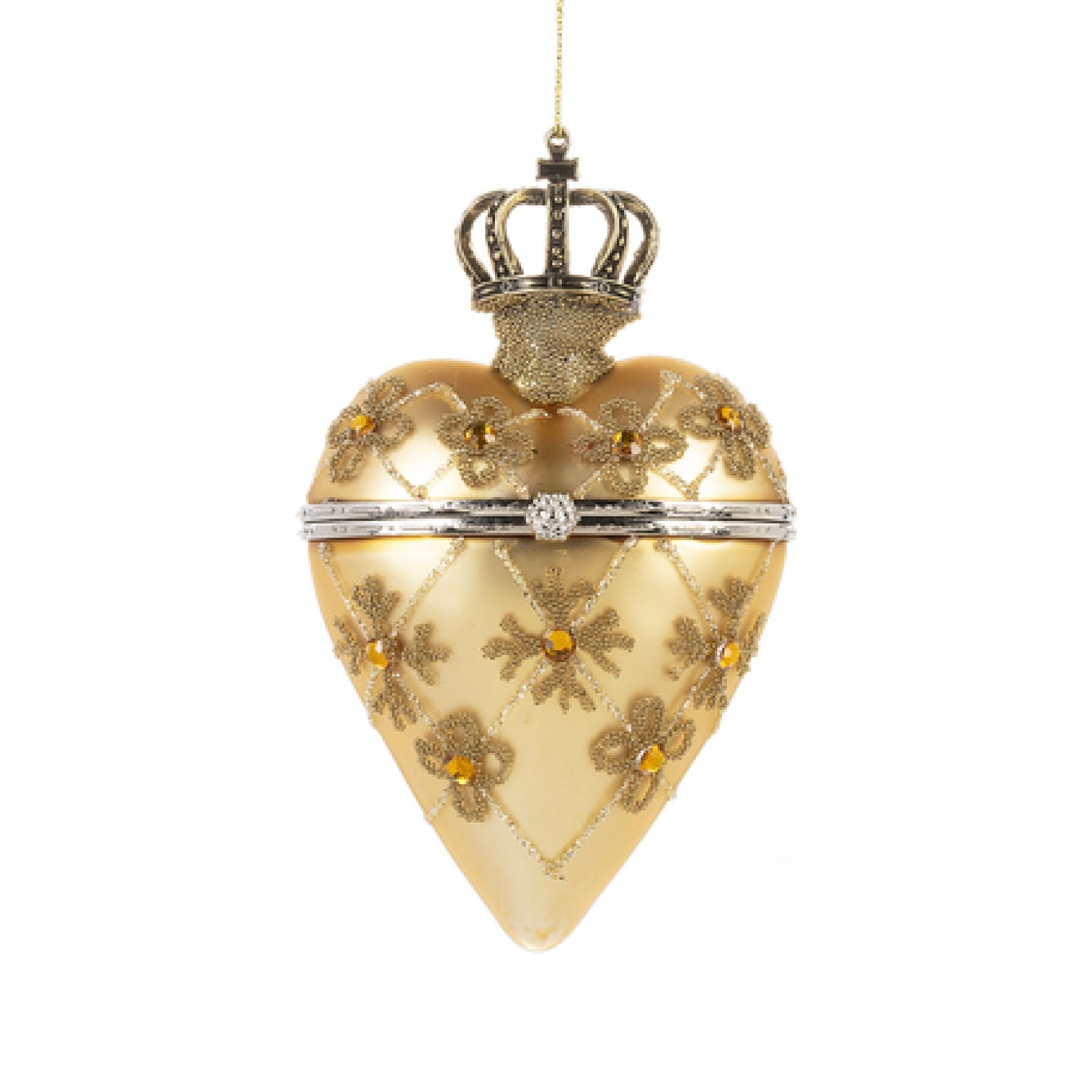 Gold Crown Glass Trinket Box Ornament