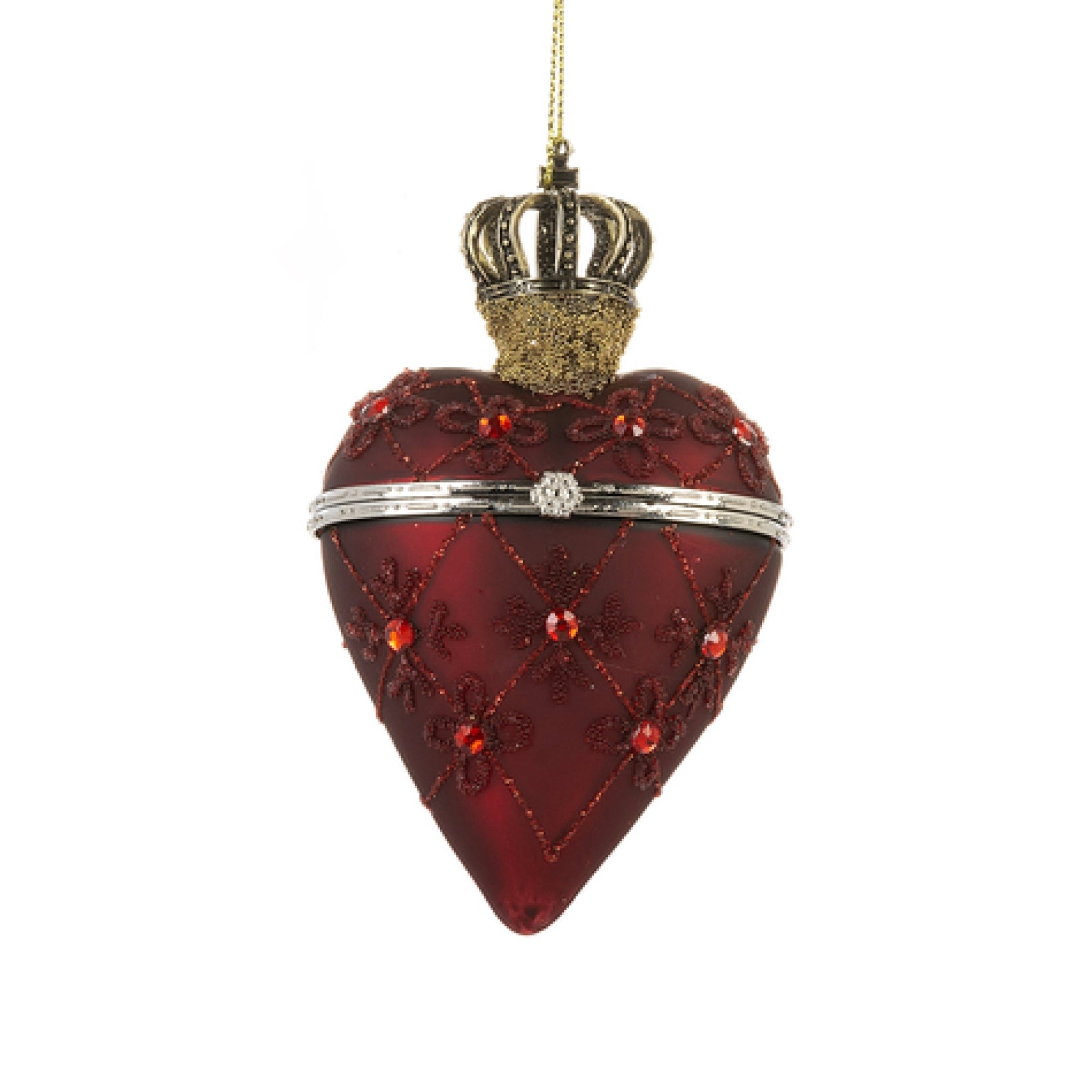 Red Crown Glass Heart Trinket Box Ornament