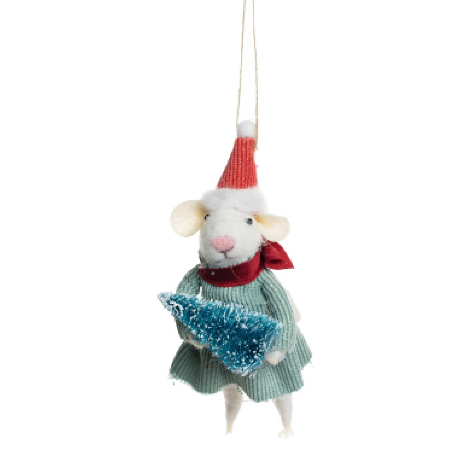 Felt Mouse with Santa Hat and Tree