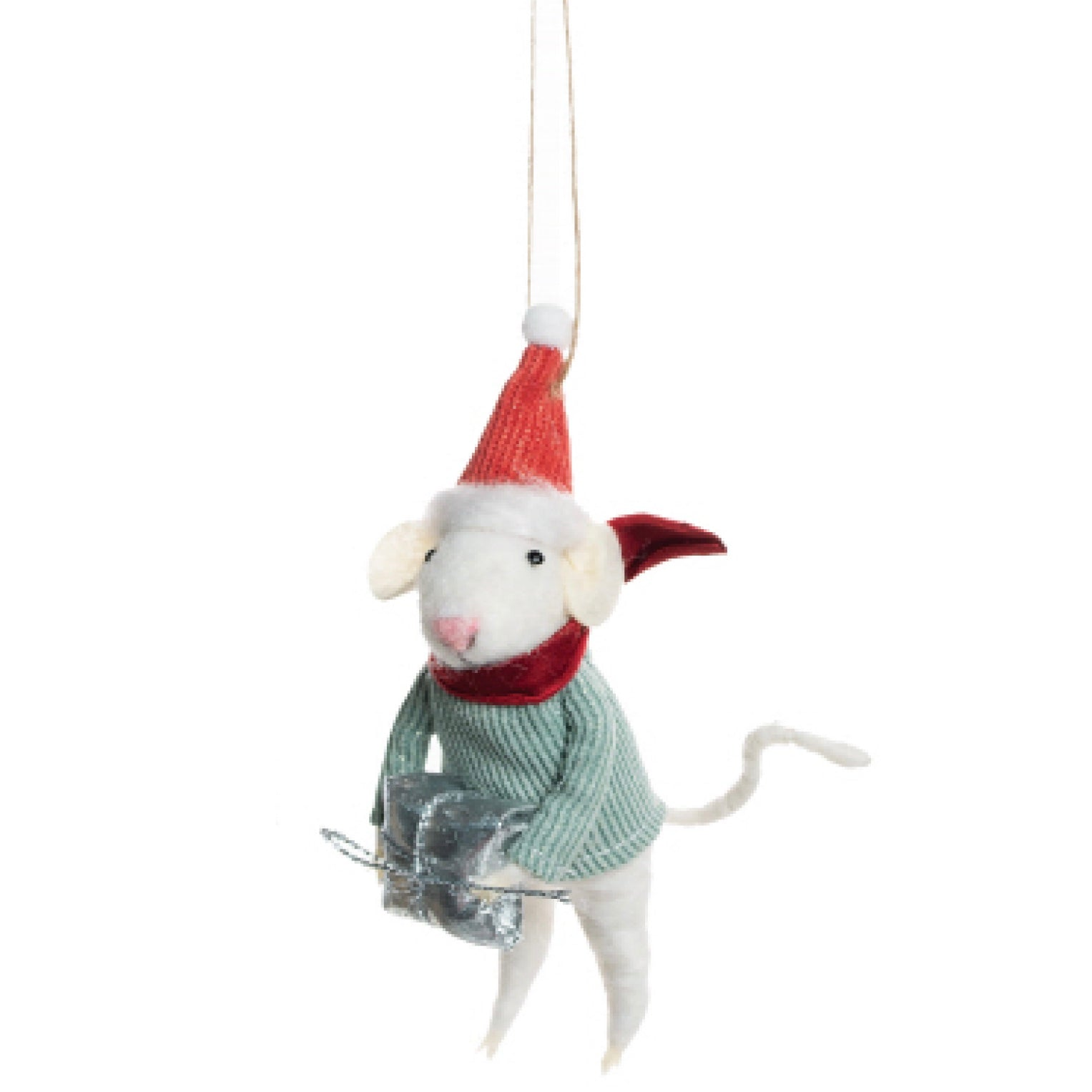 Felt Mouse with Santa Hat and Present
