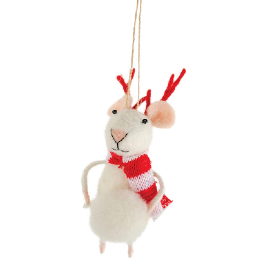 Felt Mouse Reindeer Mouse with Snowball