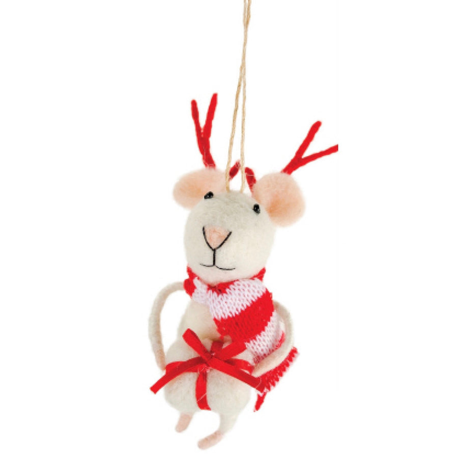 Felt Mouse Reindeer Mouse with Present