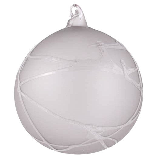 "Jim Marvin ""Winter Twig"" Glass Ball Ornament - Stone Grey"