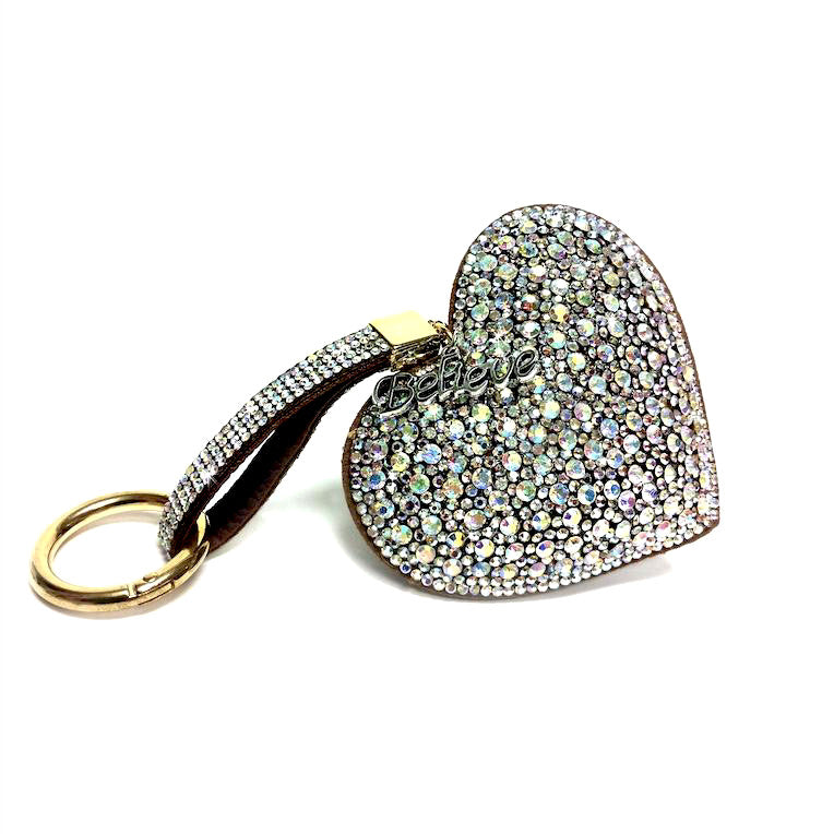 Iced Crystal Heart Purse Charm Key Chain - Silver Multi