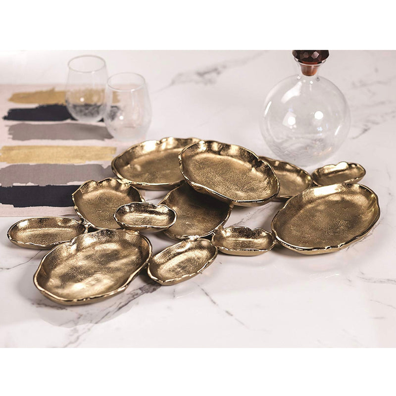 Zodax Cluster of Twelve Gold Oval Serving Bowls