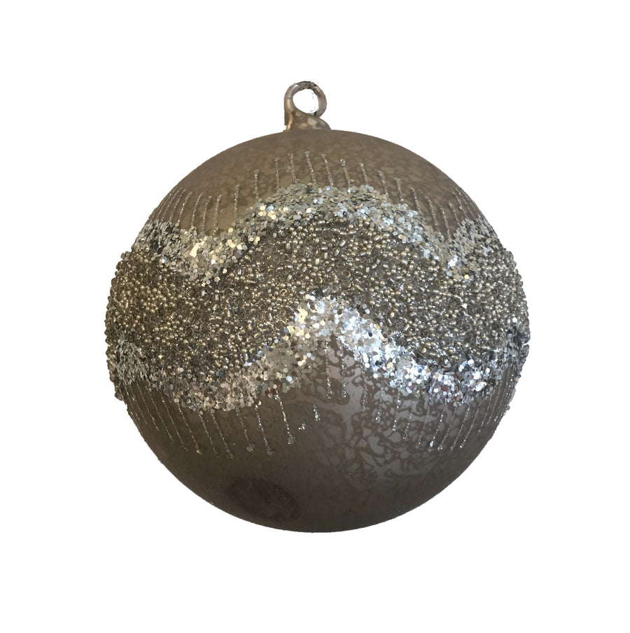 "Jim Marvin ""Mocca Beaded"" Glass Ball Ornament - Silver"